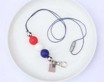 Silicone Beaded Lanyard | Teacher Gift | 4th of July - with flag