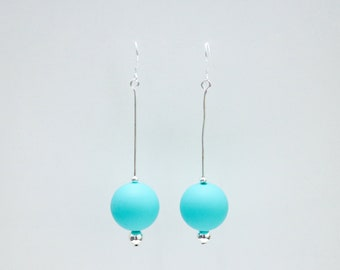 Teal silicone ball Drop Earrings.