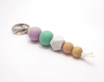 SALE Purple, Turquoise and wood Silicone Beaded Keychain.