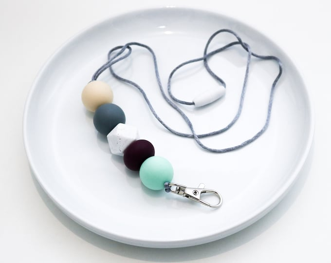 Silicone Beaded Lanyard | Teacher Gift | Grey, Tan, Turquoise and Plum.