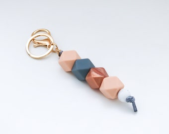 Peach Grey and Copper Beaded Silicone Sensory Keychain or Zip Pull.
