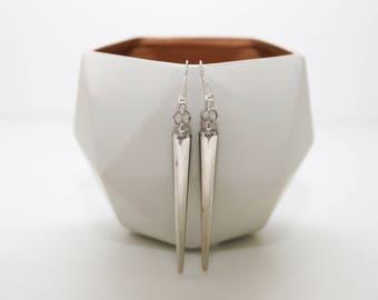 Silver Spike Dangly Earrings.