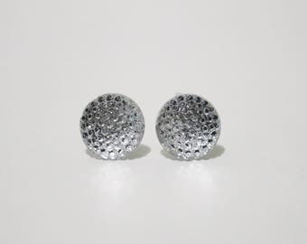 Silver bubble post stud earrings.