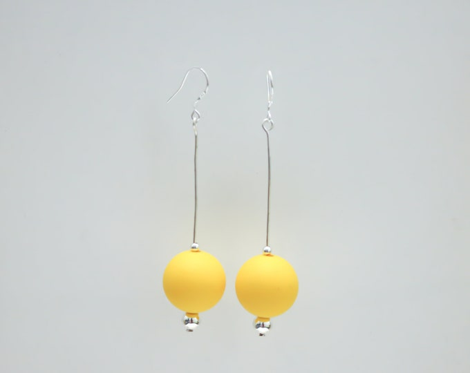 Butter Yellow silicone ball Drop Earrings.
