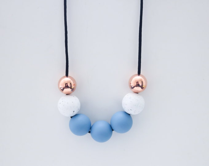 Chrissy Beaded Blue and Rose Gold Silicone Necklace.