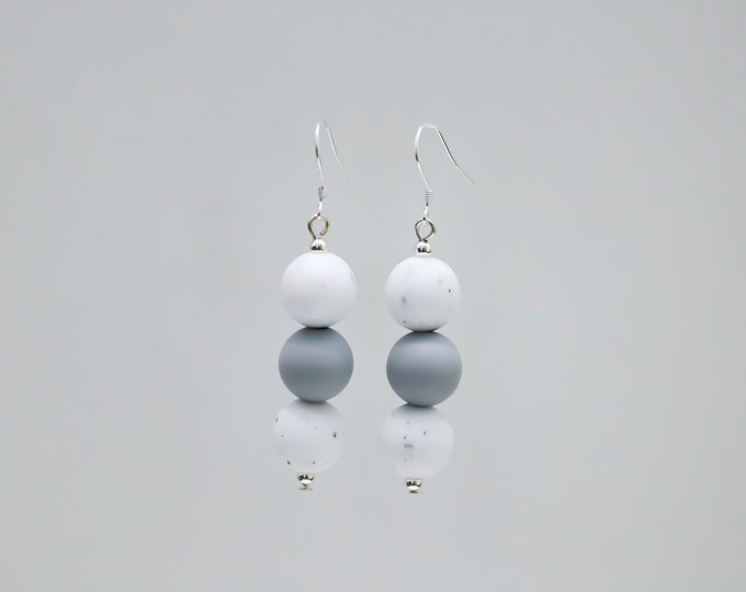 Mini Silicone Beaded Drop Earrings in Grey and Granite.