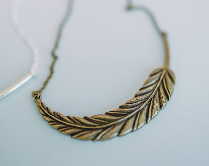 Bronze Feather Charm Statement Necklace.