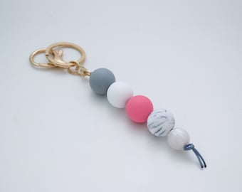 PRE ORDER - will send after April 28th - Pink and Grey Silicone Beaded Keyring