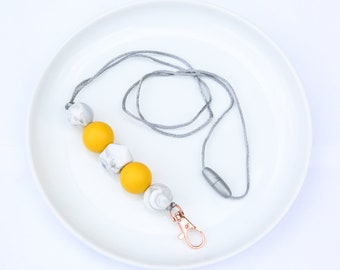 Silicone Beaded Lanyard | Teacher Gift | Serena Winter - Mustard