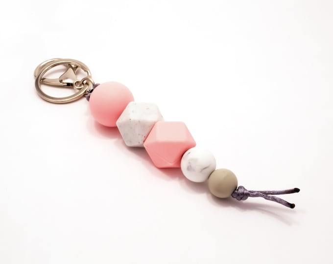 Pink, White & Grey Silicone Beaded Keychain.