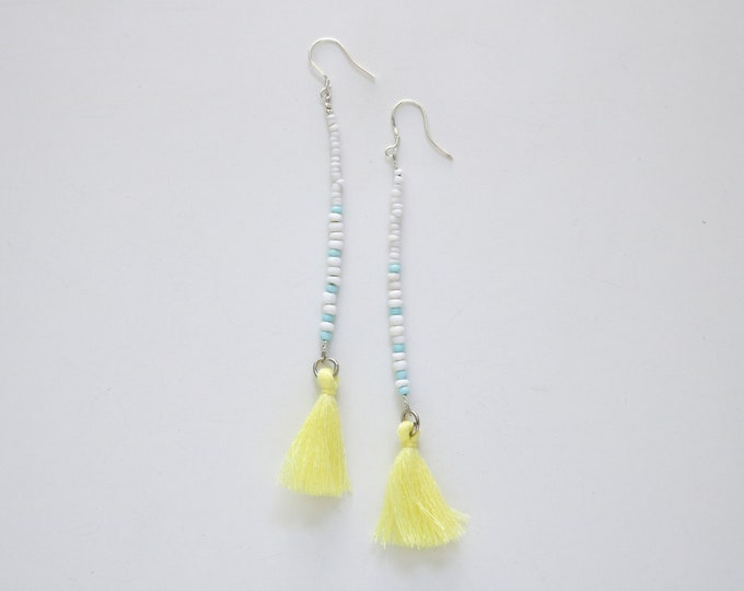 Blue and Yellow Seed bead and tassel statement earrings | Long earrings.