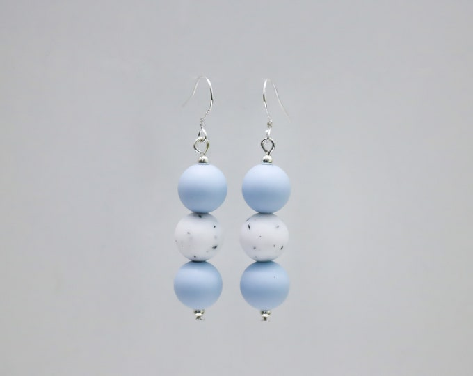 Mini Silicone Beaded Drop Earrings in Powder Blue and Granite.