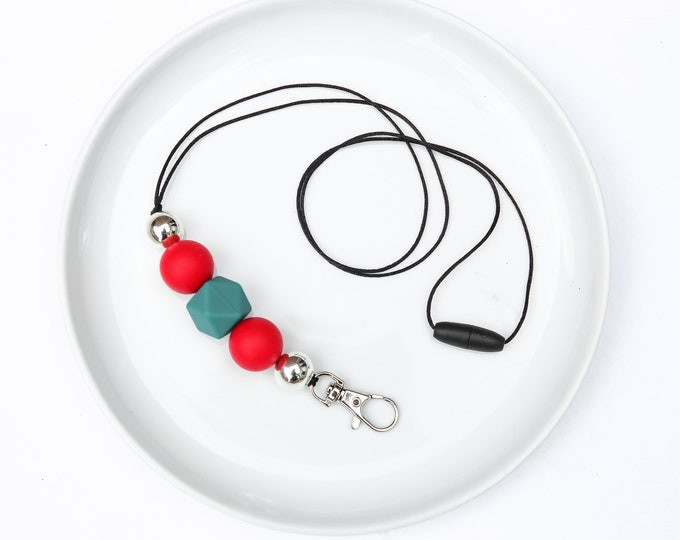 CHRISTMAS LIMITED EDITION Silicone Beaded Lanyard | Teacher Gift | Red, Green and Silver