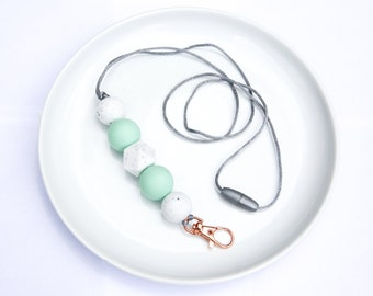 Silicone Beaded Lanyard | Teacher Gift | Serena Spring - Mint