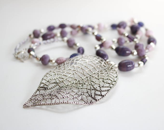 Autumn Inspired Purple Beaded Necklace.