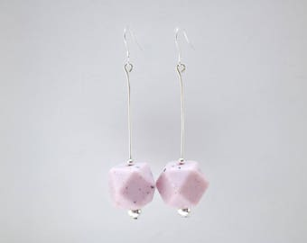 Granite Pink and Black Big Speckled Drop Earrings.