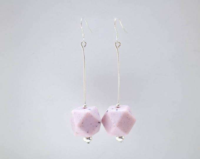 Granite Pink and Black Big Speckled Drop Earrings.