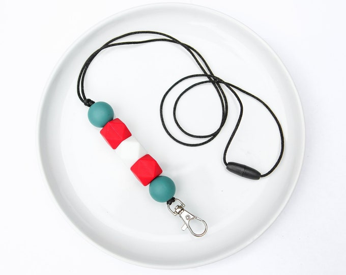 CHRISTMAS LIMITED EDITION Silicone Beaded Lanyard | Teacher Gift | Green and Red Christmas Spirit.