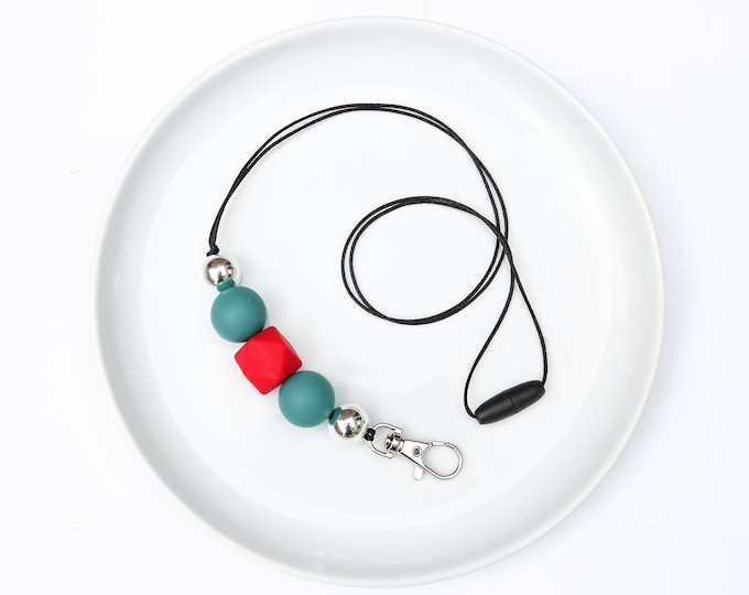 CHRISTMAS LIMITED EDITION Silicone Beaded Lanyard | Teacher Gift | Green, Red and Silver