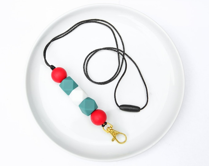 CHRISTMAS LIMITED EDITION Silicone Beaded Lanyard | Teacher Gift | Red and Green Christmas Spirit.