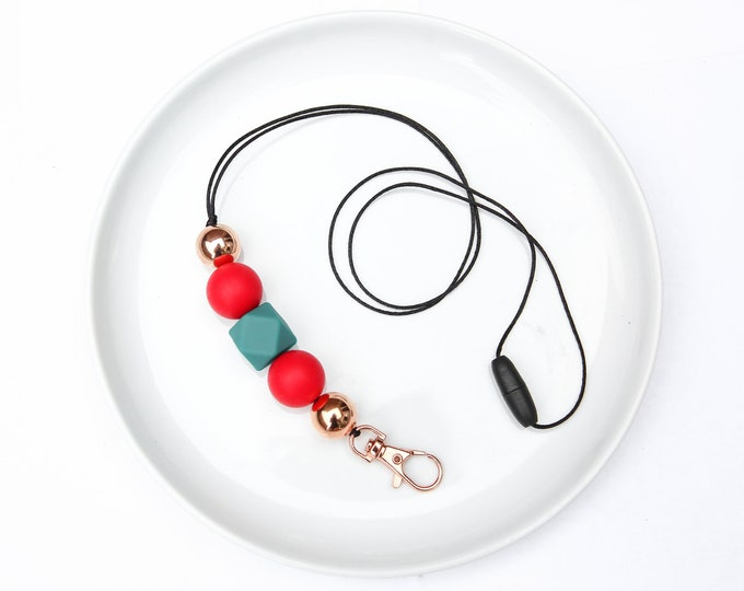 CHRISTMAS LIMITED EDITION Silicone Beaded Lanyard | Teacher Gift | Red, Green and Rose Gold.