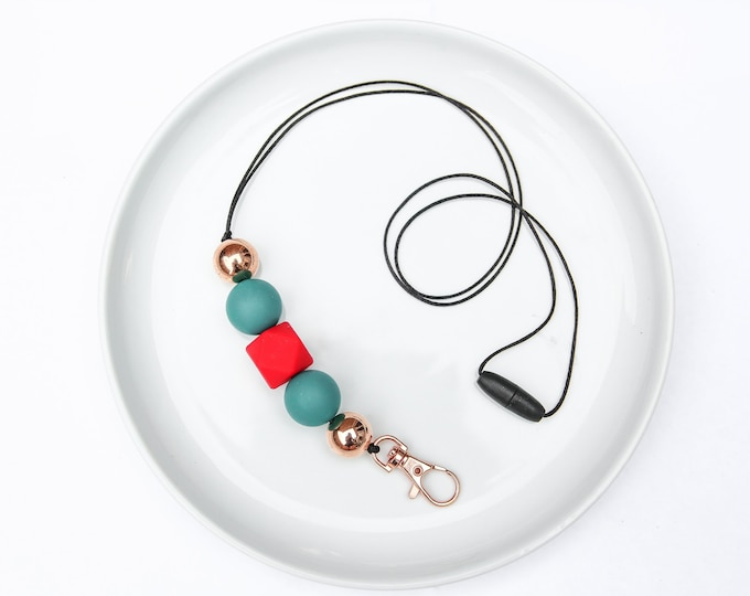 CHRISTMAS LIMITED EDITION Silicone Beaded Lanyard | Teacher Gift | Green, Red and Rose Gold.