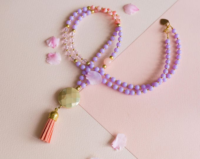 Purple and Peach Beaded Statement Necklace | Pastel Necklace.