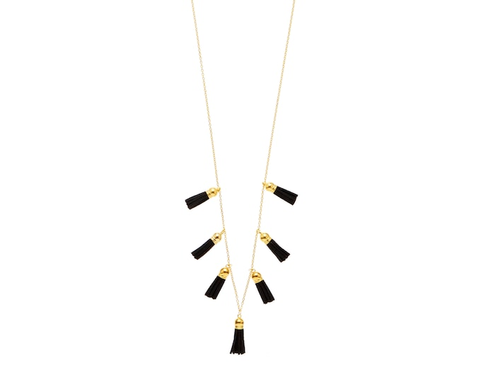 Gold and Black Tassel Statement Necklace