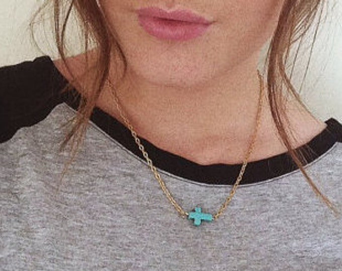 Sideways Cross Necklace Turquoise gold or silver necklace.
