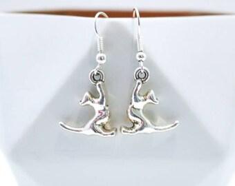 Playful Cat Silver Dangle Drop Earrings.