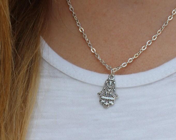 Silver Hamsa Necklace.