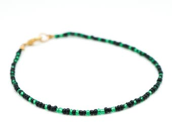 Green and Black Seed Bead Anklet.