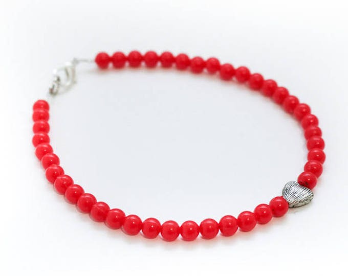 Red & Silver Heart Beaded Anklet.