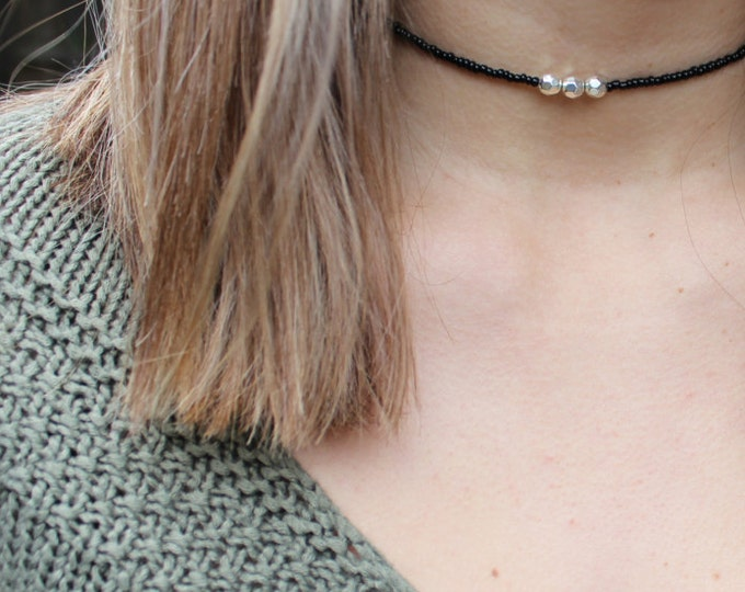 Adjustable black and silver choker