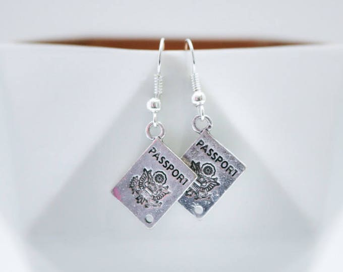 Silver Passport Dangle Earrings.
