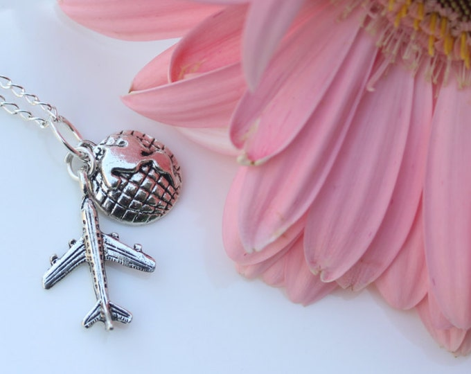 Fly away with me, Plane and World charm travel necklace.