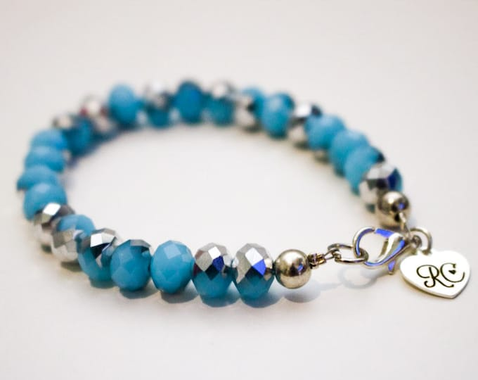 RC Signature Bracelet in Lake Blue and Silver.