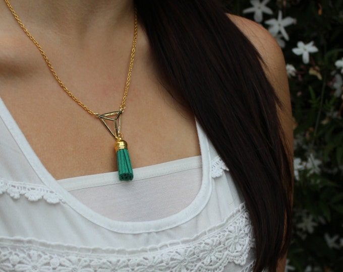 Gold Plated Triangle Tassel Necklace.