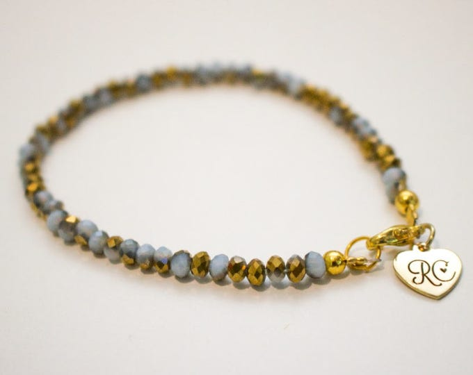 RC Signature Bracelet in Gold and White Lustre {Skinny}