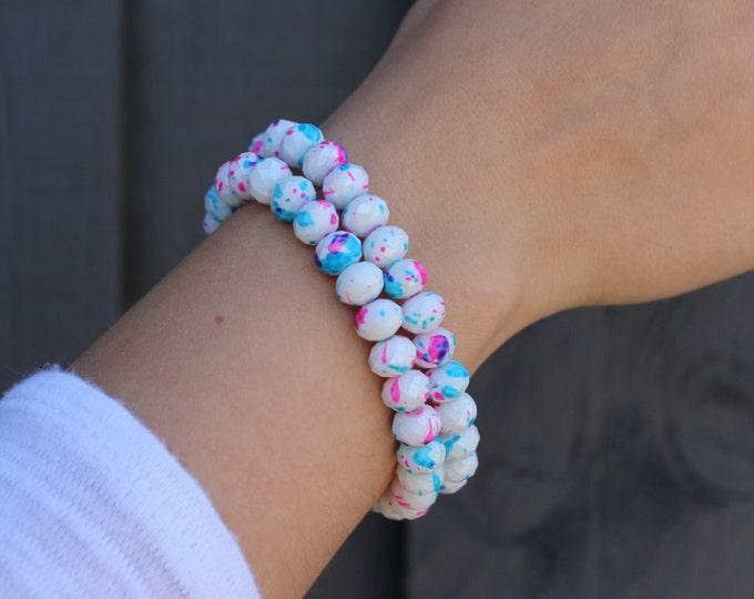 RC Signature Bracelet in Pink & Blue Dots.