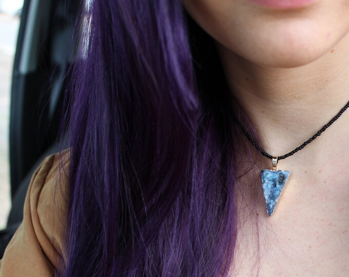Crystal Druzy Choker Necklace in Midnight Denim Blue.