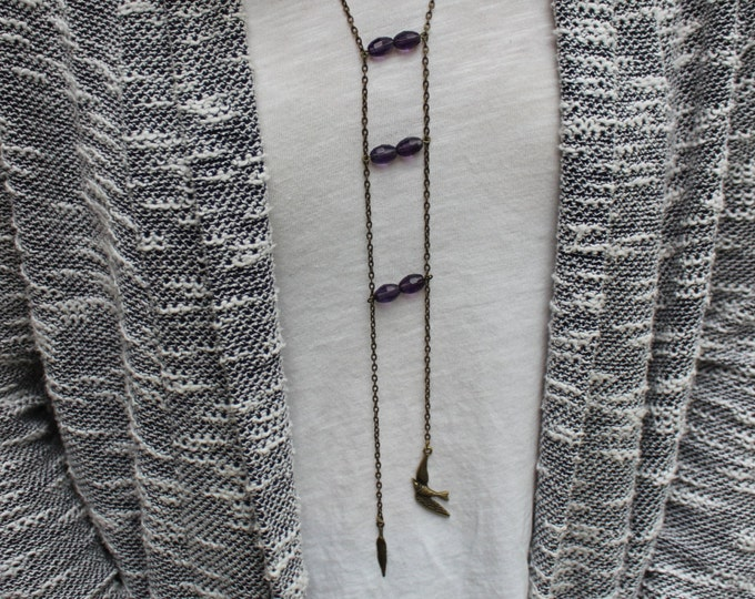 Little Birdie Ladder Necklace in antiqued bronze.