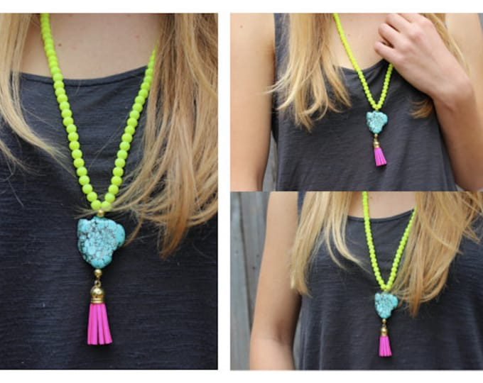 Neon Yellow Beaded Statement Necklace with Turquoise Stone and Pink Tassel.