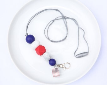Silicone Beaded Lanyard | Teacher Gift | Red, White and Blue - with flag