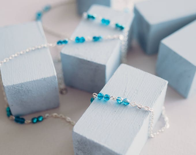 Diana Blue beaded layering necklace.