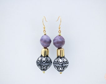 Antalya purple drop earrings.