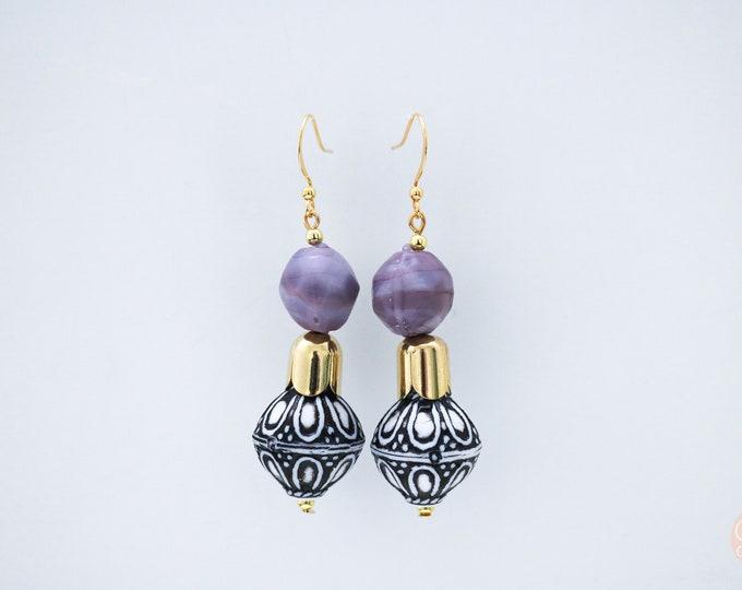 Antalya purple drop earrings.