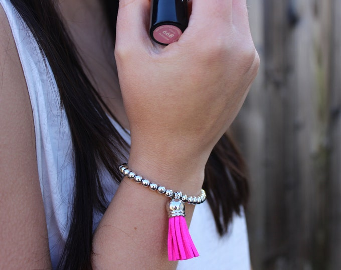 Hot Pink and Silver Beaded Bracelet.
