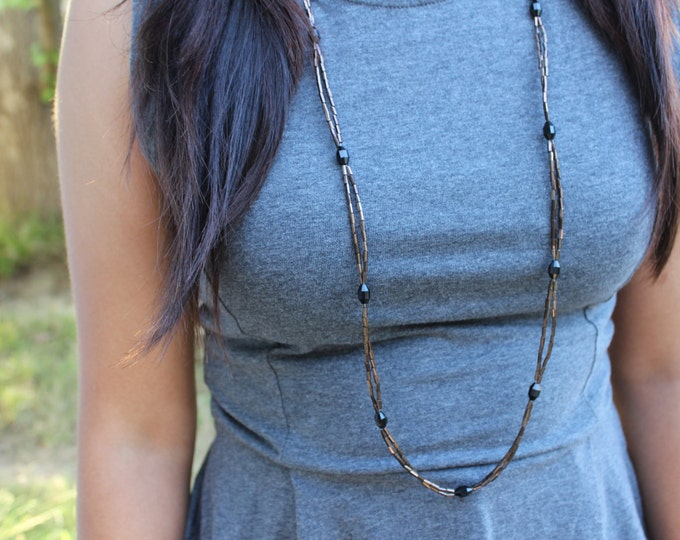 Burgundy and Black Beaded Necklace
