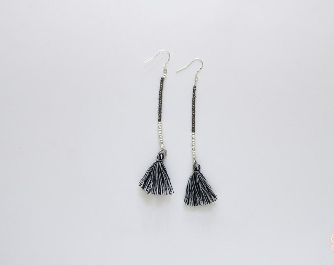 Grey and Silver Seed bead and tassel statement earrings | Long earrings.